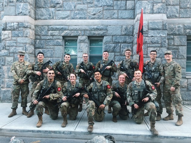Class of 2021 Cadet  Elizavetta Fursova, second from right in first row above, competes as a member of the Company H-3 Sandhurst team. A few months out from finalizing her preferences, Fursova is deciding between branching infantry or armor.