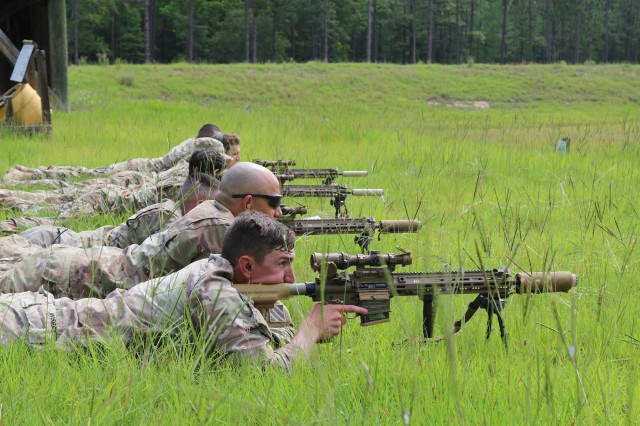Soldiers from the 1st Armored Brigade Combat Team, 3rd Infantry Division, take aim at the Fort Stewart, Ga., sniper range while fielding the U.S. Army's new M110A1 Squad Designated Marksman Rifle, June 5th, 2020. 1ABCT was the first unit in the U.S. Army to field this rifle. The SDMR was designed to fill the capability gap between the standard issue rifle, and a sniper rifle.