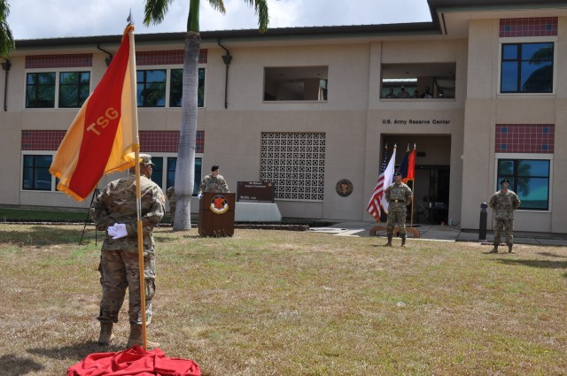 Honolulu, Hawaii – The 9th Mission Support Command's Theater Support Group welcomed its sixth brigade commander during a Change of Command Ceremony June 6, 2020 at the Daniel K. Inouye Complex at Fort Shafter Flats, Hawaii.Brig. Gen. Timothy Connelly, commanding general of the 9th MSC, presided and oversaw the changing of the colors from outgoing commander, Col. Travis Delk, to incoming commander, Col. Mark Schoenfeld.