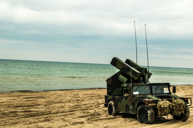 The Avenger air defense system is one of the short-range air defense assets used during the Tobruq Arrows live fire exercise on June 10th in Jurmalciems, Latvia. (U.S. Army photo by Sgt. Dommnique Washington, 7th Mobile Public Affairs Detachment)