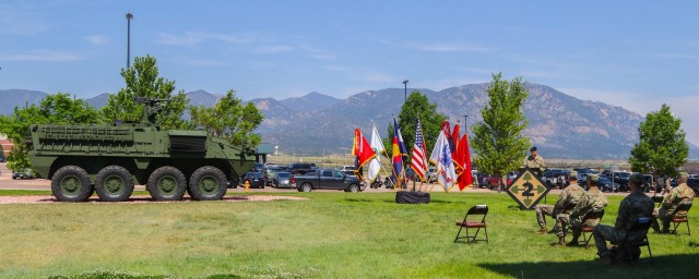 Maj. Gen. Matthew W. McFarland, commanding general of the 4th Infantry Division, speaks about the brigade's history and future plans as Stryker brigade, June 15, 2020, during 2nd SBCT's re-designation ceremony on Fort Carson, Colo. The 2nd Brigade Combat Team, formally known as an infantry brigade, announced its conversion from infantry to Stryker in September of 2018.