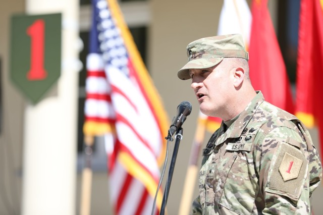 Brigadier Gen. Thomas O'Connor, 1st Infantry Division Forward commanding general, speaks during a Transfer of Authority ceremony on June 1, 2020, in Poznan, Poland, as 1ID FWD relinquished authority for the mission command element within the Atlantic Resolve area of responsibility to the 1st Cavalry Division.