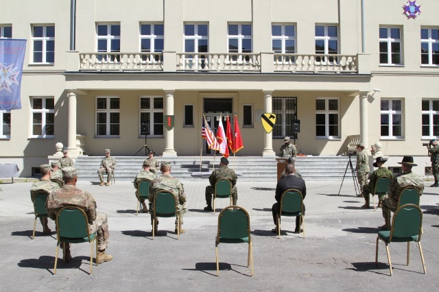 The 1st Infantry Division Forward and the 1st Cavalry Division Forward held a Transfer of Authority ceremony on June 1, 2020, in Poznan, Poland, as 1ID FWD relinquished authority for the mission command element within the Atlantic Resolve area of responsibility to the First Team. The ceremony setup adhered to social distancing in an effort to combat the spread of COVID-19.