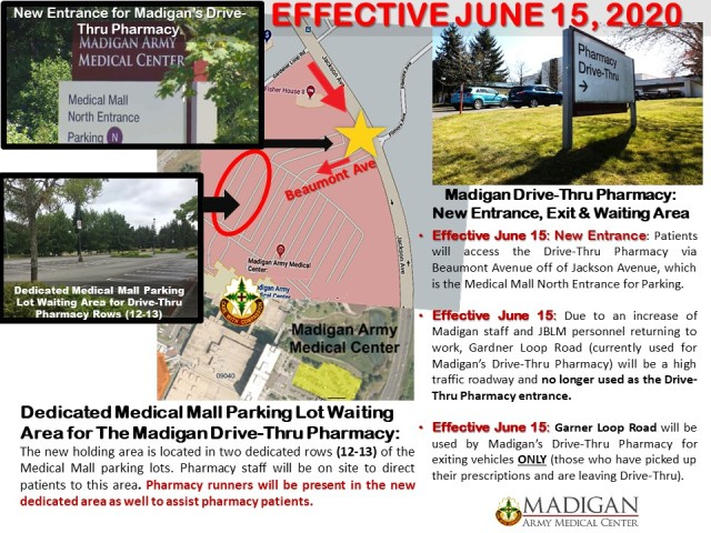 """Madigan is now making additional modifications to its Main Outpatient Drive-Thru Pharmacy operations as Madigan and other JBLM operations gradually begin to return to work and embrace a """"new normal"""" to continue the mission and serve beneficiaries as efficiently and safely as possible."""