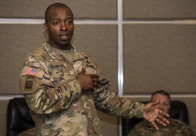 The Army is realigning its chief information officer/G-6 position into two separate roles to meet current and future multi-domain operational requirements and remain competitive within the information technology and cyber environments. Lt. Gen. Bruce Crawford, the Army's current CIO/G-6, will maintain his current role until the transition in late August. In the photo: Crawford attends a working lunch during the Joint Warfighting Assessment on Joint Base Lewis-McChord, Wash., May 1, 2019.