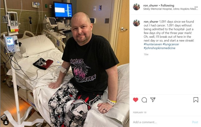 Medal Of Honor recipient Staff Sgt. Ronald Shurer II, a former 3rd Special Forces Group (Airborne) medic, shares a photo of himself at Johns Hopkins Kimmel Cancer Center at Sibley Memorial Hospital, in Washington D.C., Feb. 19. 2020.