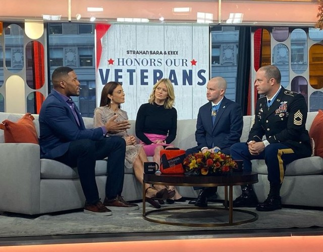 Medal Of Honor recipient Staff Sgt. Ronald Shurer II, a former 3rd Special Forces Group (Airborne) medic, joins his good friend and Medal of Honor recipient now-Sgt. Maj. Matthew Williams, on the show Good Morning America in New York City, Nov. 11, 2019.  As a former weapons sergeant with Operational Detachment Alpha 3336, Williams was the second member to receive the Medal of Honor for the same operation.