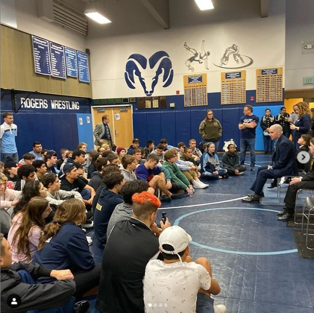 Medal Of Honor recipient Staff Sgt. Ronald Shurer II, a former 3rd Special Forces Group (Airborne) medic, speaks to a group of high school students during a ceremony at Shurer's former high school in Puyallup, Washington, Dec. 7, 2019.