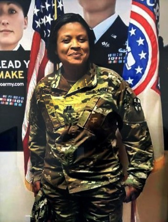 Capt. Chimdinma Barbara Ojini pictured at her commissioning ceremony Apr. 19, 2019. Ojini, a nurse practitioner, is one of more than 1200 Army Reserve medical professionals that have mobilized with Army Reserve Urban Augmentation Medical Task Forces as part of the Department of Defense response to COVID-19.