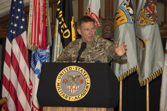 Chief of Staff of the Army Gen. James C. McConville addresses the Class of 2020 during the United States Military Academy's Graduation Banquet Dinner at the Cadet Mess Hall, June 13, 2020 at West Point, New York.