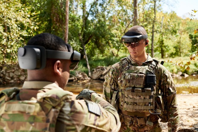 Soldiers at Fort Pickett, Virginia, test a Microsoft-designed prototype goggle, the Integrated Visual Augmentation System.