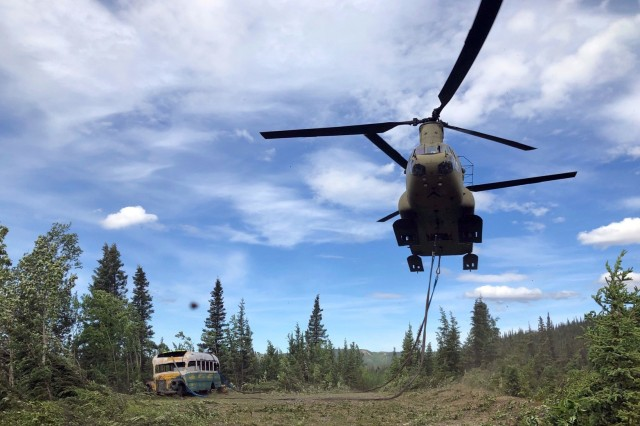 Alaska Guard airlifts 'Into the Wild' bus from Stampede Trail