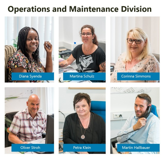 WIESBADEN, Germany – The Operations and Maintenance Division serves the U.S. Army Garrison Wiesbaden community from their rearranged office space June 15, 2020. Top row (left to right): Customer Service Representatives Diana Syenda, Martina Schulz and Corinna Simmons. Bottom row (left to right): Customer Service Representative Oliver Stroh, Chief Work Reception & Scheduling Branch Petra Klein, Chief of the Business Operation and Integration Division Martin Hallbauer. Not pictured: Customer Service Representative Patricia Winslow.