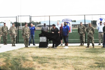 Eighth anvil takes its place at entrance of Anvil Field