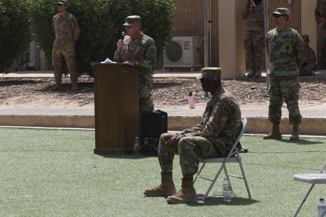 U.S. Army Major General Steven Ferrari, the Commander of Task Force Spartan, speaks at the graduation ceremony for the Emergency Basic Leaders Course in Kuwait, on June 9, 2020. The EBLC course was offered to Soldiers while they were deployed to the Middle East.