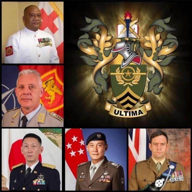 Honoring our allies and partners, the NCO Leadership Center of Excellence held a virtual ceremony to induct five past international graduates of the Sergeants Major Academy, into the International Student Hall of Fame, June 18. (Top left) Senior Warrant Officer Paula Fifita, Force Sergeant Major of Fiji in His Majesty's Armed Forces, (center) Command Sgt. Maj. Hans Juergen Stark the Command Senior Enlisted Sergeant Major at the NATO headquarters of Allied Joint Force Command Naples, (bottom left) Warrant Officer Kazuo Nemoto, Sergeant Major of the Japan Ground Self-Defense Force, (bottom center) Chief Warrant Officer Chua Hock Guan, Sergeant Major of the Army for the Singapore Armed Forces, and (bottom right) Warrant Officer Class One Gavin H. Paton, British Army Sergeant Major.