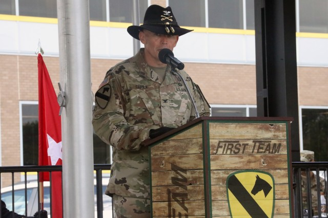 """FORT HOOD, TX -- Col. Kevin Capra, outgoing commander of the 3rd Armored Brigade Combat Team """"Greywolf,"""" 1st Cavalry Division gives his farewell remarks. The Brigade bid farewell to Capra and welcomed Reese during a change of command ceremony, on Cooper Field, June 19."""