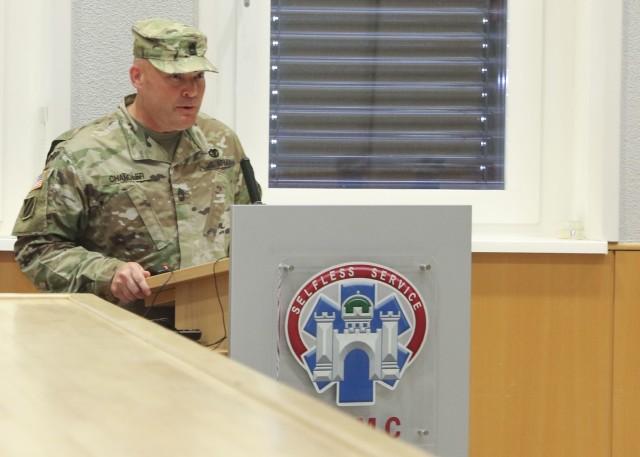 Master Sgt. Richard Chandler, interim command sergeant major, Troop Command, Landstuhl Regional medical Center, makes remarks durinbg a change of responsiblity ceremony, June 5.
