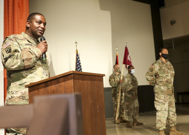 Sgt. 1st Class Timothy Johnson, outgoing detachment sergeant, Wiesbaden Army Health Clinic, makes remarks during a change of command and responsibility ceremony, June 12.