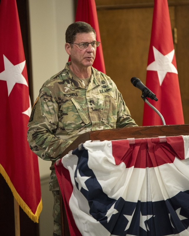 Maj. Gen. Daniel G. Mitchell, incoming commanding general of ASC, speaks during a change of command ceremony held at Rock Island Arsenal, Illinois, on June 24.