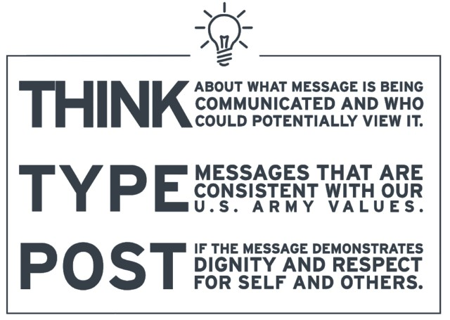 """""""When engaging in social media, Army team members should apply the 'think, type, post' methodology,"""" wrote Robert Speer while serving as acting Secretary of the Army in 2017 """"'Think' about the message being communicated and who could potentially view it, 'Type' a communication that is consistent with Army values, then 'post' only those messages demonstrating dignity and respect for self and others."""""""