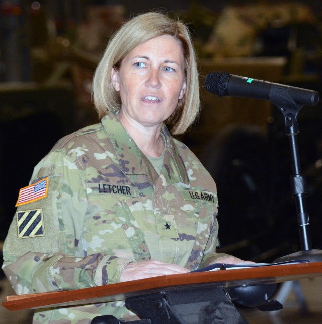 FORT LEE, VA. -- New Chief of Ordnance Brig. Gen. Michelle M. T. Lechter talks about her history with Fort Lee during the Ordnance Corps Assumption of Command ceremony June 16 at the Ordnance Training Support Facility.