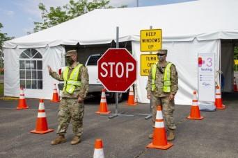 Kentucky National Guard staffs drive-thru COVID-19 test sites