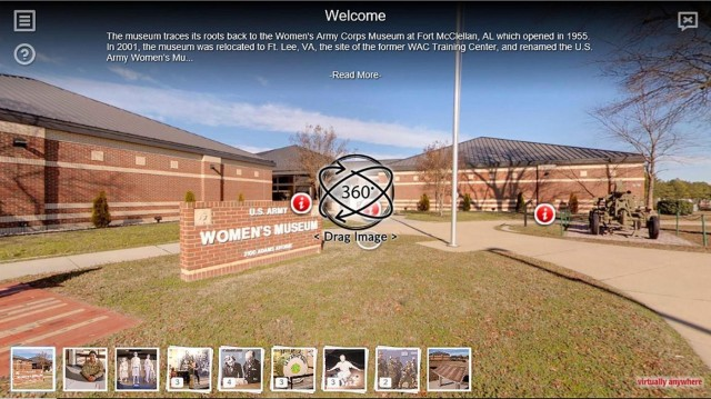 The Army Women's Museum offers a virtual tour featuring 360-degree views of actual exhibits and museum sections. It also features information buttons for features items.