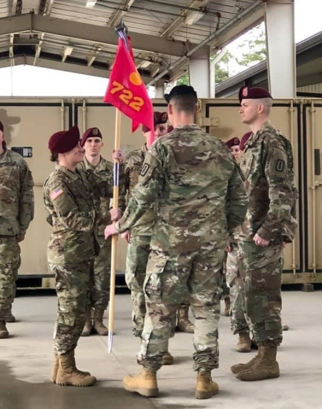 Capt. Katie Nisbet assumes command of the 722nd Explosive Ordnance Disposal Company at Fort Bragg, N.C., Feb. 22, 2019.