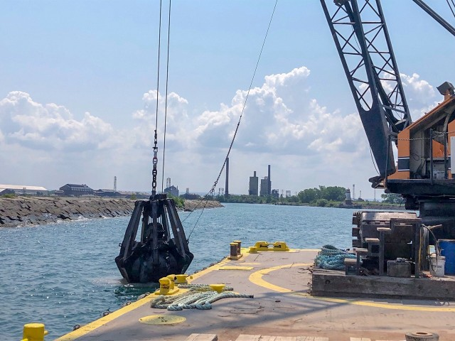 The U.S. Army Corps of Engineers Buffalo District makes repairs to damaged areas of critical need on the Buffalo south breakwater located in the Buffalo Harbor, Buffalo, NY, July 26, 2019.   Credit: Andrew Kist, Buffalo District engineer