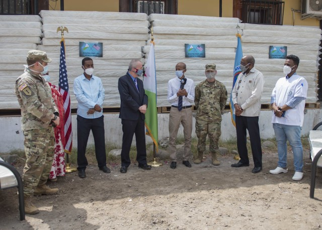 Dr. Saleh Banoita Tourab, Executive Secretary of the Djiboutian Ministry of Health, speaks during a cermony held at Bouffard Hospital in Djibouti City, Djibouti, June 25, 2020. Combined Joint Task Force-Horn of Africa (CJTF-HOA), donated 60 beds valued at $9,400 to the Djiboutian Ministry of Health for its efforts during the ongoing COVID-19 pandemic. (U.S. Air Force photo by Senior Airman Dylan Murakami)