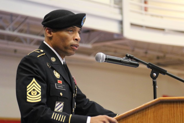After 30 years of dedicated service to the US Army, 48th Chemical Brigade Command Sergeant Major Ronrico Hayes celebrated his retirement and change of responsibility among friends, family and his fellow Soldiers.