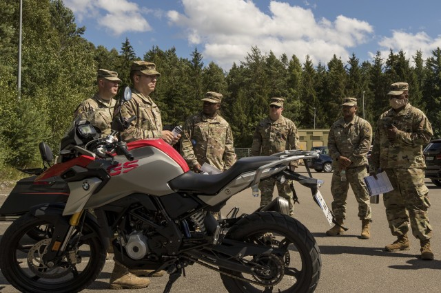 10th Army Air and Missile Defense Command Conducts Motorcycle safety training near Rhine Ordnance Barracks, Kaiserslautern, Germany on July 1, 2020.