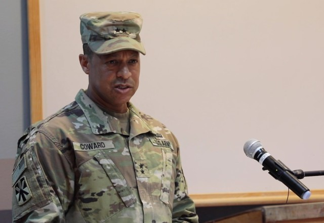 Maj. Gen. Clement Coward, commander, 32nd Army Air and Missile Defense Command, addresses attendees at the Top Notch Brigade Transfer of Authority ceremony at Al Udeid Air Base, Qatar, June 14, 2020.  The 11th Air Defense Artillery Brigade assumed responsibility as the Top Notch Brigade from the 108th ADA BDE.