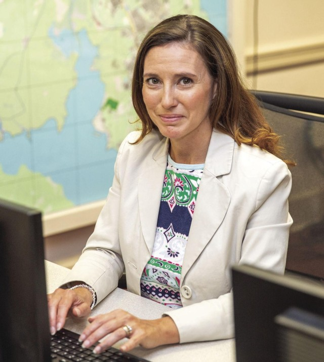 Holly Mann, an emergency manager, in the Garrison Emergency Operations Center.