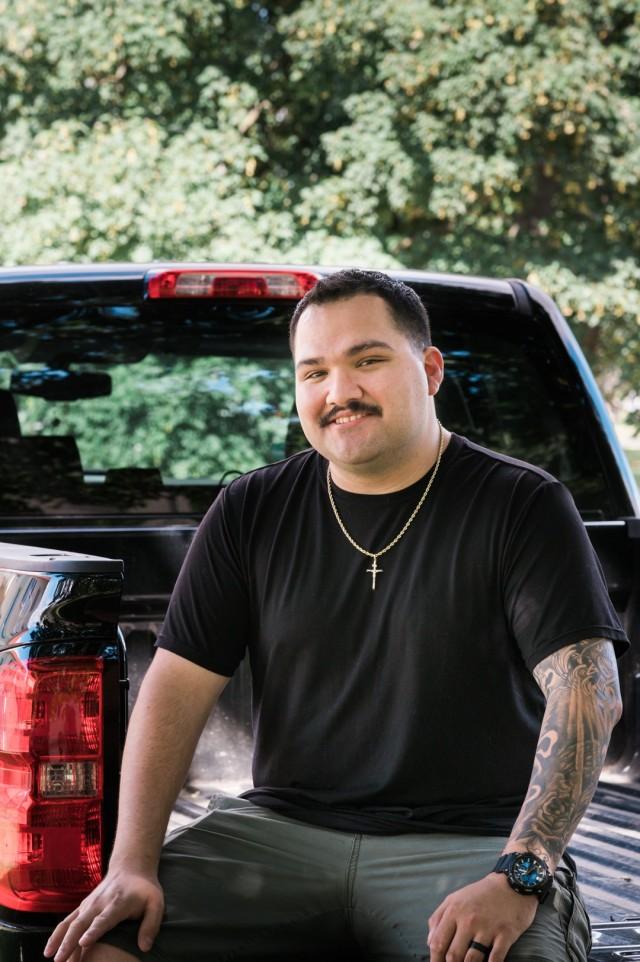 WIESBADEN, Germany - Staff Sgt. Rafael Marin sits on his truck July 1, 2020.
