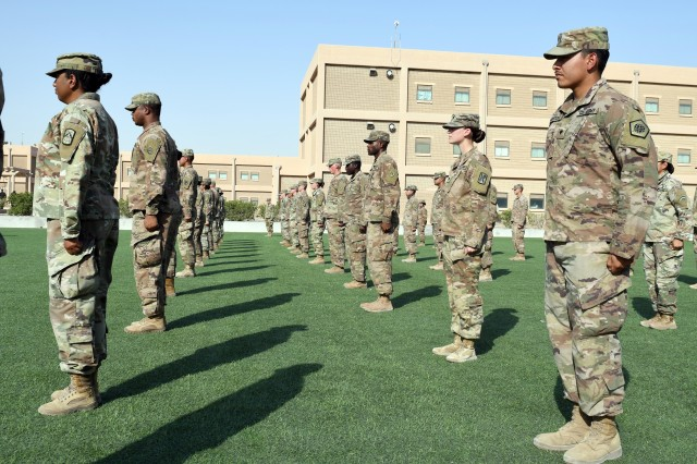ARIFJAN, KUWAIT—More than 40 Soldiers from throughout the U.S. Army Central area of responsibility graduated from the Emergency Basic Leaders Course here, July 7, 2020. The Emergency Basic Leaders Course, or eBLC, is a modification of the Basic Leaders Course, which is the first of five NCO Professional Development Courses in the U.S. Army and is required for promotion to the rank of sergeant. (U.S. Army National Guard photo by Master Sgt. Thomas Wheeler)