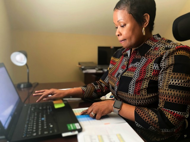 Anissa Nash, a U.S. Army Aviation and Missile Command budget analyst, teleworks from home, June 2, practicing social-distancing during the coronavirus pandemic while providing financial management services throughout the command.