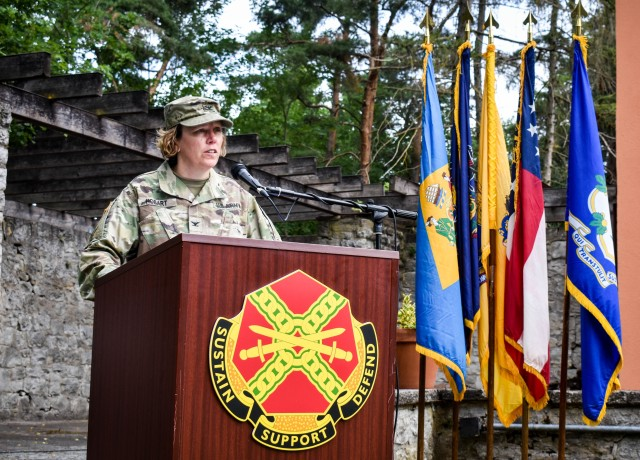 Col. Karen E. Hobart took command of U.S. Army Garrison (USAG) Ansbach from Col. Steven M. Pierce during a change of command ceremony at the Von Steuben Community Center on Bismarck Kaserne July 8.