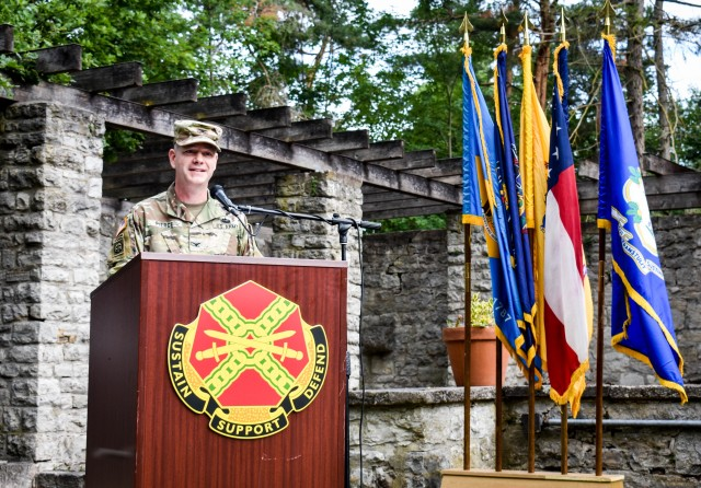 Col. Steven M. Pierce bids the U.S. Army Garrison Ansbach farewell during the change of command ceremony, July 8 at the Von Steuben Community Center on Bismarck Kaserne.