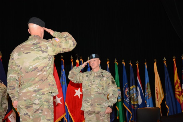 Brig. Gen. Robert Bennett proudly passed on the responsibility of being The Adjutant General of the U.S. Army to Brig. Gen. Hope Rampy during a ceremony here, at Waybur Theater, July 7.
