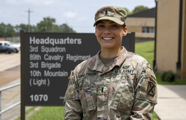 U.S. Army 1st Lt. Addison B. Lukfin-Collier, an armor officer assigned to Bravo Troop, 3rd Squadron, 89th Cavalry Regiment, 3rd Brigade Combat Team, 10th Mountain Division, stands in front the squadron headquarters building on Fort Polk, La., July 1, 2020, after graduating from U.S. Army Ranger school. Lufkin-Collier endured four months of vigorous physical and mental training at Fort Benning, Ga.