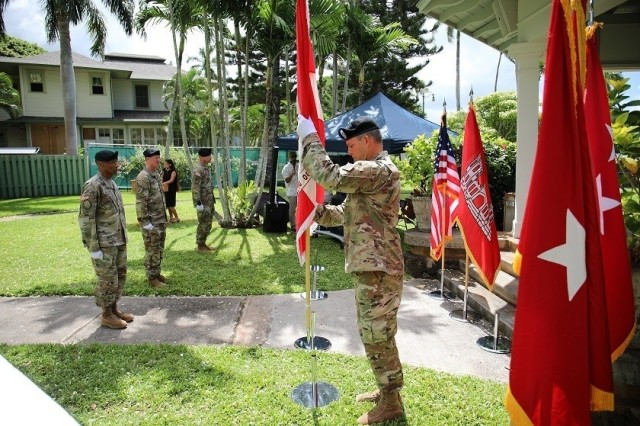 Brig. Gen. Thomas Tickner relinquished his position as commander of the U.S. Army Corps of Engineers, Pacific Ocean Division to Col. Kirk E. Gibbs, during a social distance adherence change of command and responsibility ceremony, July 8.