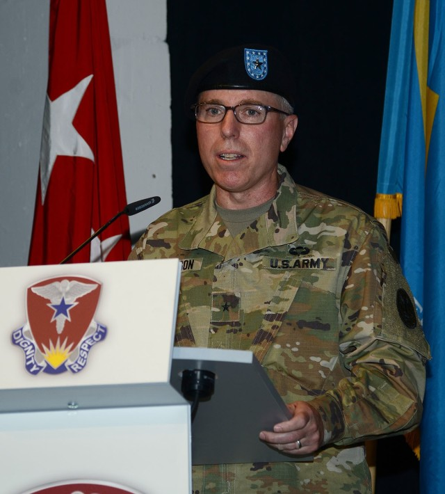 Brig. Gen. Mark Thompson delivers remarks during an assumption of command and assumption of responsibility ceremony July 9 at Kleber Kaserne, Germany.  Thompson took command of Regional Health Command Europe.
