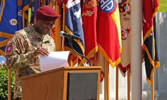 Command Sgt. Maj. David Pitt, the 82nd Airborne Division command sergeant major, gives remarks during the 82nd Abn. Div. Change of Command and Change of Responsibility Ceremony on Fort Bragg, N.C., July 10, 2020. During the ceremony, Maj. Gen. James Mingus relinquished command to Maj. Gen. Christopher T. Donahue and Command Sgt. Maj. Cliff Burgoyne relinquished responsibility to Command Sgt. Maj. Pitt.