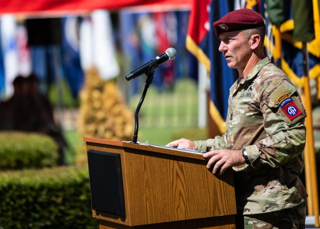 Command Sgt. Maj. Cliff Burgoyne, the 82nd Airborne Division command sergeant major, gives remarks during the 82nd Abn. Div. Change of Command and Change of Responsibility Ceremony on Fort Bragg, N.C., July 10, 2020. During the ceremony, Maj. Gen. James Mingus relinquished command to Maj. Gen. Christopher T. Donahue and Command Sgt. Maj. Burgoyne relinquished responsibility to Command Sgt. Maj. David Pitt.