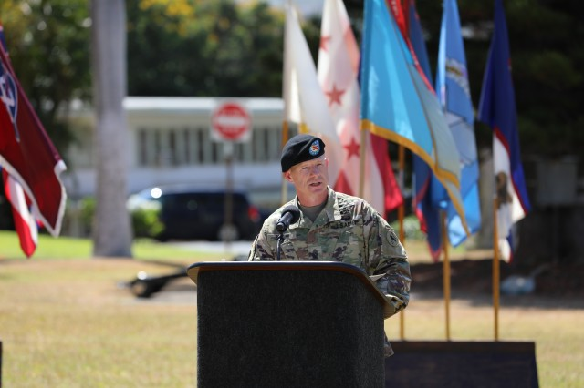 Command Sgt. Maj. Scott A. Brzak, incoming U.S. Army Pacific command sergeant major, gives his remarks at USARPAC's change of responsibility ceremony July 10, 2020, at Historic Palm Circle, Fort Shafter, Hawaii.  Brzak was former Command Sergeant Major for G3/5/7 Operations, Plans and Training for the Headquarters of the Department of the Army at the Pentagon in Washington D.C. (U.S. Army photo by Russell K. Dodson, U.S. Army Pacific public affairs)