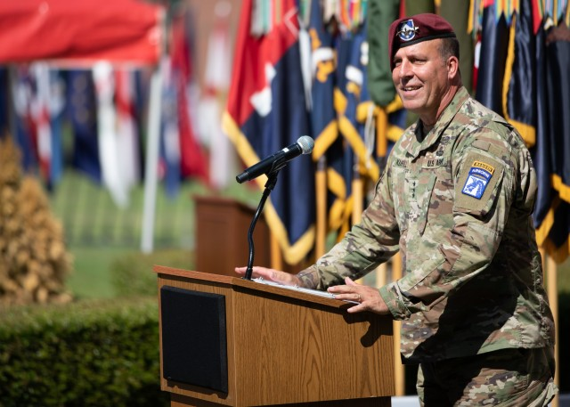 Lt. Gen. Erik Kurilla, the commanding general of the XVIII Airborne Corps, delivers remarks during the 82nd Airborne Division Change of Command and Change of Responsibility Ceremony on Fort Bragg, N.C., July 10, 2020. During the ceremony, Maj. Gen. James Mingus relinquished command to Maj. Gen. Christopher T. Donahue and Command Sgt. Maj. Cliff Burgoyne relinquished responsibility to Command Sgt. Maj. David Pitt.