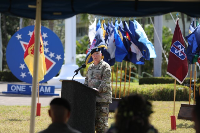 Gen. Paul J. LaCamera, U.S. Army Pacific commanding general, gives his remarks at USARPAC's change of responsibility ceremony July 10, 2020, at Historic Palm Circle, Fort Shafter, Hawaii. Command Sgt. Maj. Scott A. Brzak assumed responsibility of USARPAC from Command Sgt. Maj. Benjamin Jones, who held the position since Nov. 2017.  (U.S. Army photo by Sgt. 1st Class Keith Gill, U.S. Army Pacific)