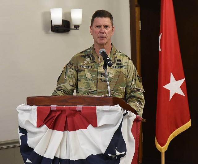 Maj. Gen. Daniel Mitchell, commanding general, U.S. Army Sustainment Command, and event host, discusses the value of leadership during the LOGCAP Support Brigade change of command ceremony July 10 in Heritage Hall, Rock Island Arsenal, Illinois. (Photo by Jon Micheal Connor, ASC Public Affairs)